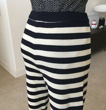VERSACE SPORT nautical navy stripe wool high waisted leggings w/ ankle cuffs 44