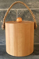 Vintage Ice Bucket Rope Handle Wood Grain Color USA specialties unlimited RETRO