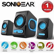 Computer Speaker SonicGear Quatrov USB FM Radio Subwoofer 2.1 PC Bluetooth Blue