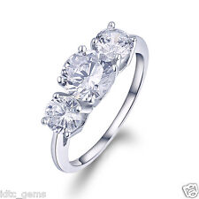 2.61 CT 3 Stone Brilliant Cut Engagement Ring Past Present Future 14K White Gold