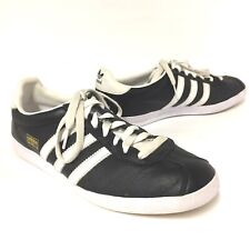 Adidas Originals Gazelle Men Fashion Shoes Leather Sneakers Black White Size 8.5