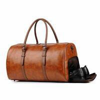 New Fashion Men Soft Leather Duffel Bag Large Travel Overnight Luggage Handbag