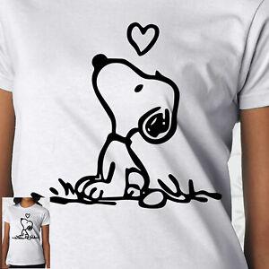 Snoopy Heart Charlie Brown Peanut Vintage Love TV Film Retro Tshirt White Womens