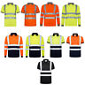 Hi Viz Vis Polo Shirt High Visibility Safety Security Work Reflect Two Tone Top