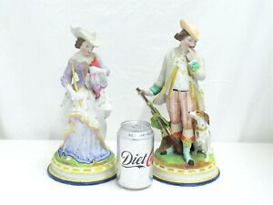 """Vintage Pair of Porcelain Pottery Figurines Gent & Woman in Hunting Poses 12"""""""