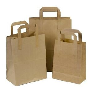 BROWN KRAFT SMALL LARGE PAPER CARRIER BAGS WITH HANDLES 50 100 PARTY GIFT