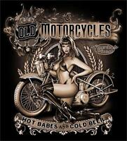 OLD MOTORCYCLES HOT BABES COLD BEER BLACK TEE SHIRT SIZE L adult T307 biker