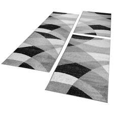 Bettumrandung Läufer Teppich Geometrisch Meliert Grau Weiß Schwarz Läuferset 3Tl