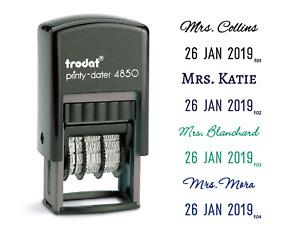 Custom self-ink name stamp with date,  custom teacher stamp, name and date stamp