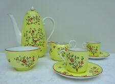 Spode Coffee Service Yellow Art Deco Butteries 2416 Tea Pot Cups Cans Jug Bowl
