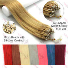 """16-26"""" Ombré Micro Ring Beads Easy Loop Remy Human Hair Extensions Straight"""