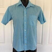 Mens Drizabone 100% Cotton Blue Check Short Sleeve Button Up Shirt Size S Summer