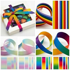 Rainbow Bright/Pastel Ribbon DOUBLE SIDED Various Widths Lengths