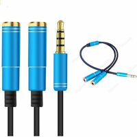 Y Splitter Earphone Headphone Male To 2 Female Audio Adapter 3.5mm Cord Cable