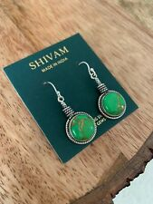 Shivam Silver Earrings With Green Copper Turquoise Made In India