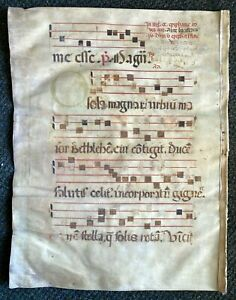 1350 HUGE ORIGINAL handwritten medieval VELLUM manuscript 1 Very Large Initial