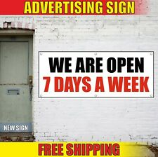 We Are Open Banner Advertising Vinyl Sign Flag 7 Days A Week 24 Hours Holiday