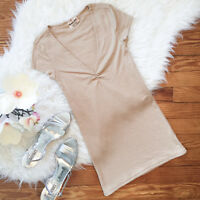 Michael Stars Women's One Size S/S V-Neck T-shirt Gold Tight Fit