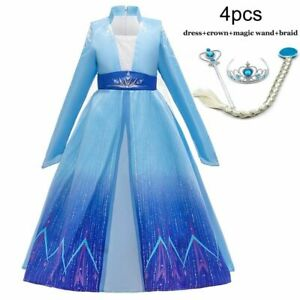 Elsa Dress For Girl Birthday Party Dress Kid For Children Fancy Carnival Costume