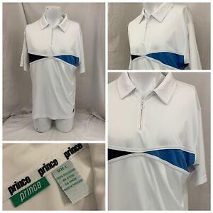 Prince Tennis Shirt L White 100% Polyester 1/4 Zip Polo Mint YGI V1-28