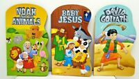 3 (three) Board Books: Noah and The Animals, Baby Jesus, & David and Goliath NEW