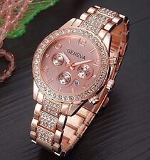 ROSE GOLD Geneva Chronograph Designer Style Ladies Women's Crystals Bling Watch