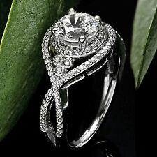 Halo Infinity 1.15 Carat VS2/H Round Cut Diamond Engagement Ring 14k White Gold