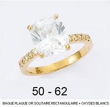 Dolly-Bijoux Alliance T58 Solitaire Diamant Cz Carré 8mm Plaqué Or 18K 5 Microns