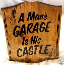 PERSONALIZED Wood Sign / A Man's Garage Is His Castle