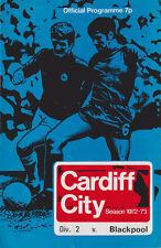 Football Programme>CARDIFF CITY v BLACKPOOL Aug 1972