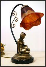 Jugendstil Lampe FRAU Skulptur nackt Tischleuchte Leselampe Modern Style  -11-