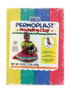 AMACO Permoplast Non-Toxic Modeling Clay Set, 1 lb, Assorted Color, Set of 4