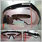 CLASSIC VINTAGE 90's RETRO SPORTY WRAP Style SUN GLASSES Black Frame Pink Lens