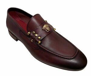 Sigotto Uomo Men's Slip On Burgundy Leather Dress Shoes 3754