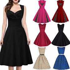 Vintage Womens Polka Dot 1950s Housewife Pinup Rockabilly Swing Party Prom Dress