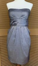 Short Strapless Gray Prom Dress Womens Large Dance Bridesmaid Pockets Homecoming