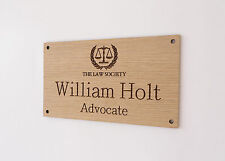 Custom Engraved Office Sign, Personalised Door Plaque, Business Name, Home, Oak.