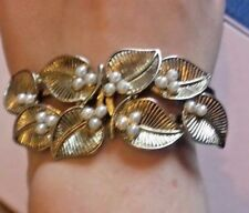 Gold Metal & Faux Pearl Floral Hinge Bracelet Bridal Wedding Bridesmaid