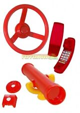 Red Playground Accessory Kit Cubbyhouse Steering Wheel Telescope Telephone pack