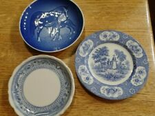 Three antique vintage blue plates (Copenhagen 1972, Blue Lawnton, Syracuse China
