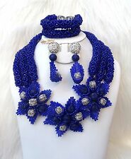 New Design Blue Silver Crystal 3 Layers Beads Bridal Flower Brooch Jewelry Set