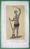 NEW GUINEA Outanata or Out-Anata Native Warrior - 1855 COLOR Antique Print