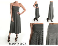 Womens Striped Maxi Dress Skirts A-Line Full Fold Over Waistband Tie Dyed S M L