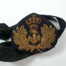 More details for dutch navy merchant navy officers embroidered cap badge and tally - netherlands