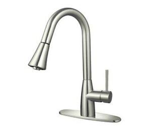 Hardware House LLC 16-3002 Satin Nickel Gooseneck Kitchen Faucet w Side Sprayer