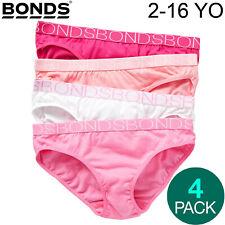 4 Pack Bonds Girls Kids Bikini Plain Pink Comfort Cotton Briefs Undies Underwear