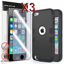 3xFilm + High Hybrid Impact Hard Soft Rubber Case Cover For iPod Touch 5 5th Gen