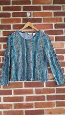 Laura Ashley Petite Small knit shirt fluid black blue mini squares
