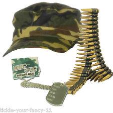 Mens Boys Army Soldier Kit Cap Bullet Belt Dog Tag Set Fancy Dress Camouflage