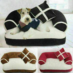 UK Puppy Bed Kennel Basket Cushion Pad Pet Cat Dog Bed Soft Couch Sofa Chair I1/